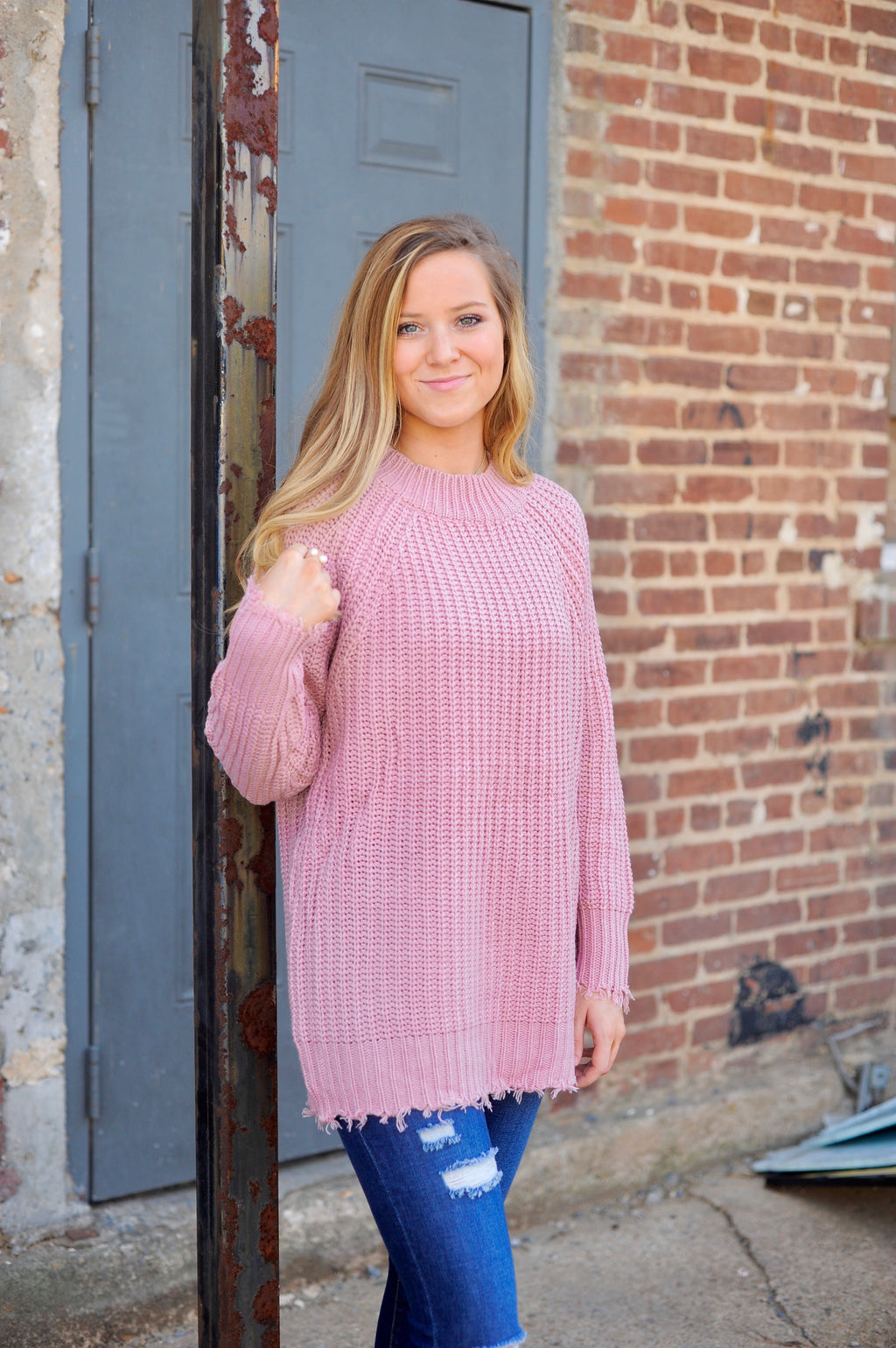 Solid Distressed Hem Sweater - Mauve