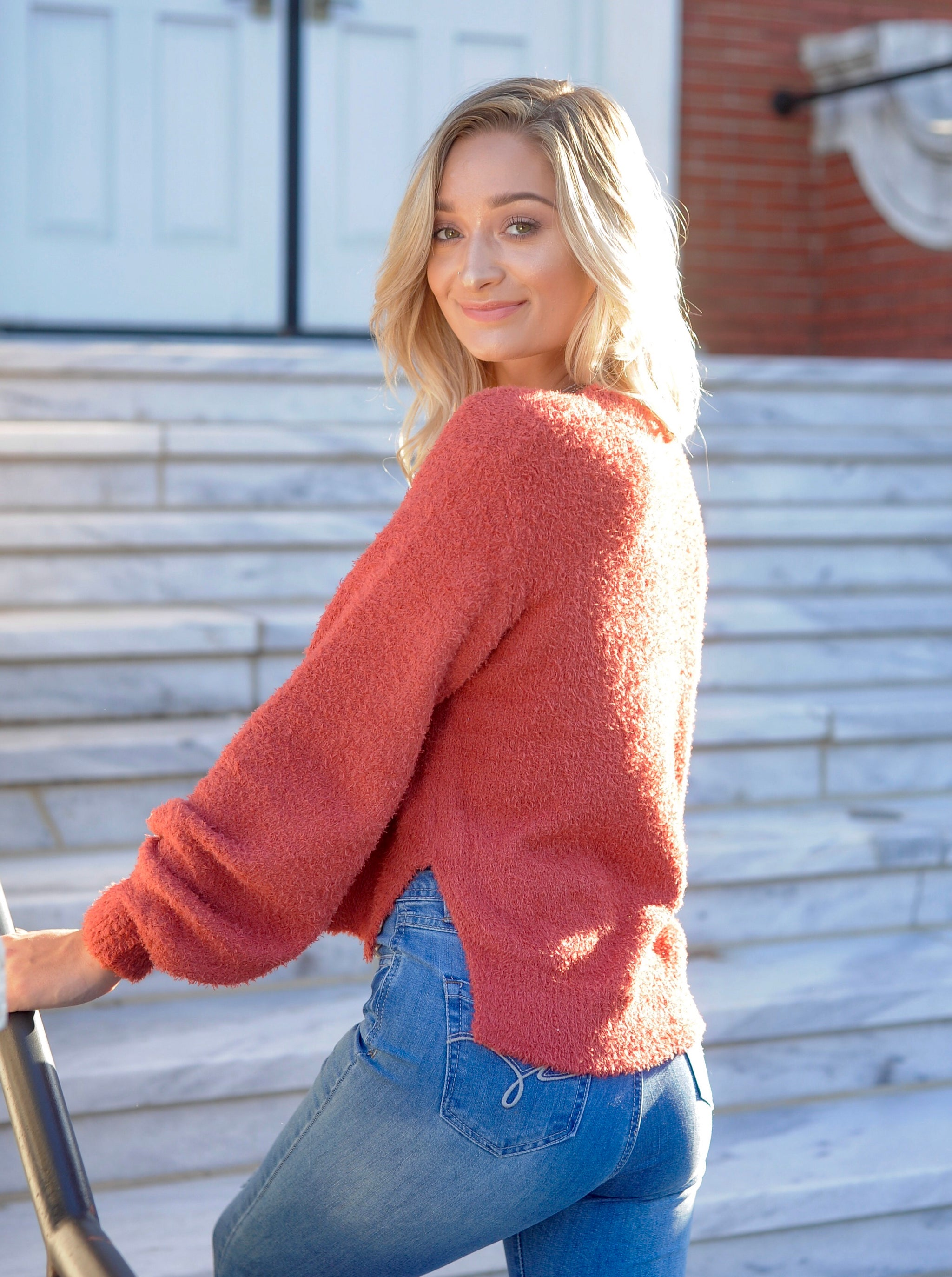 Rust Cuff Sleeve Fuzzy Sweater