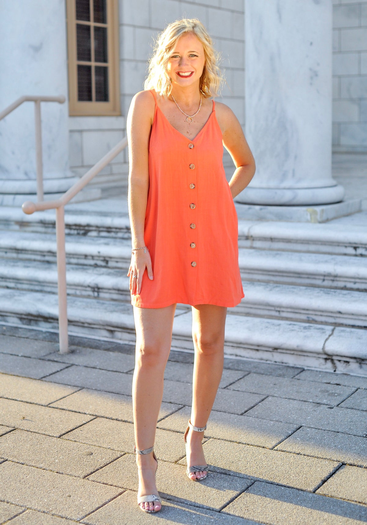 Orange Button Down Spaghetti Dress