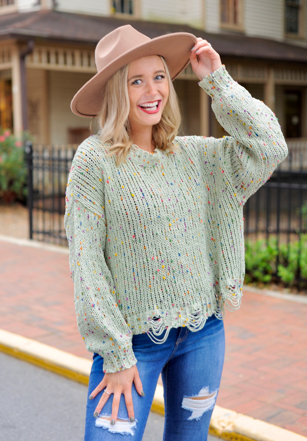 Confetti Distressed Sweater- Sage