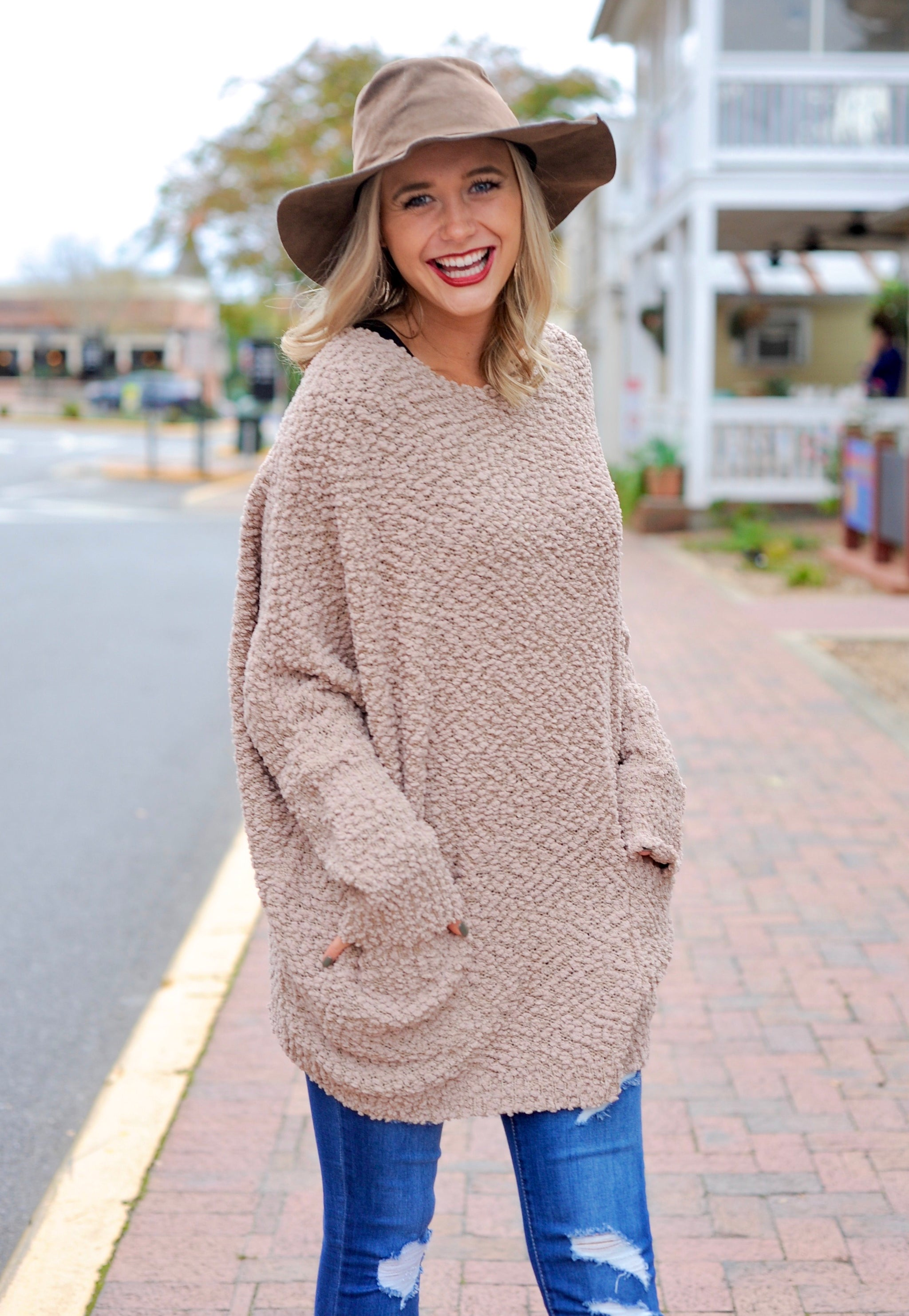 Front Pocket Popcorn Sweater