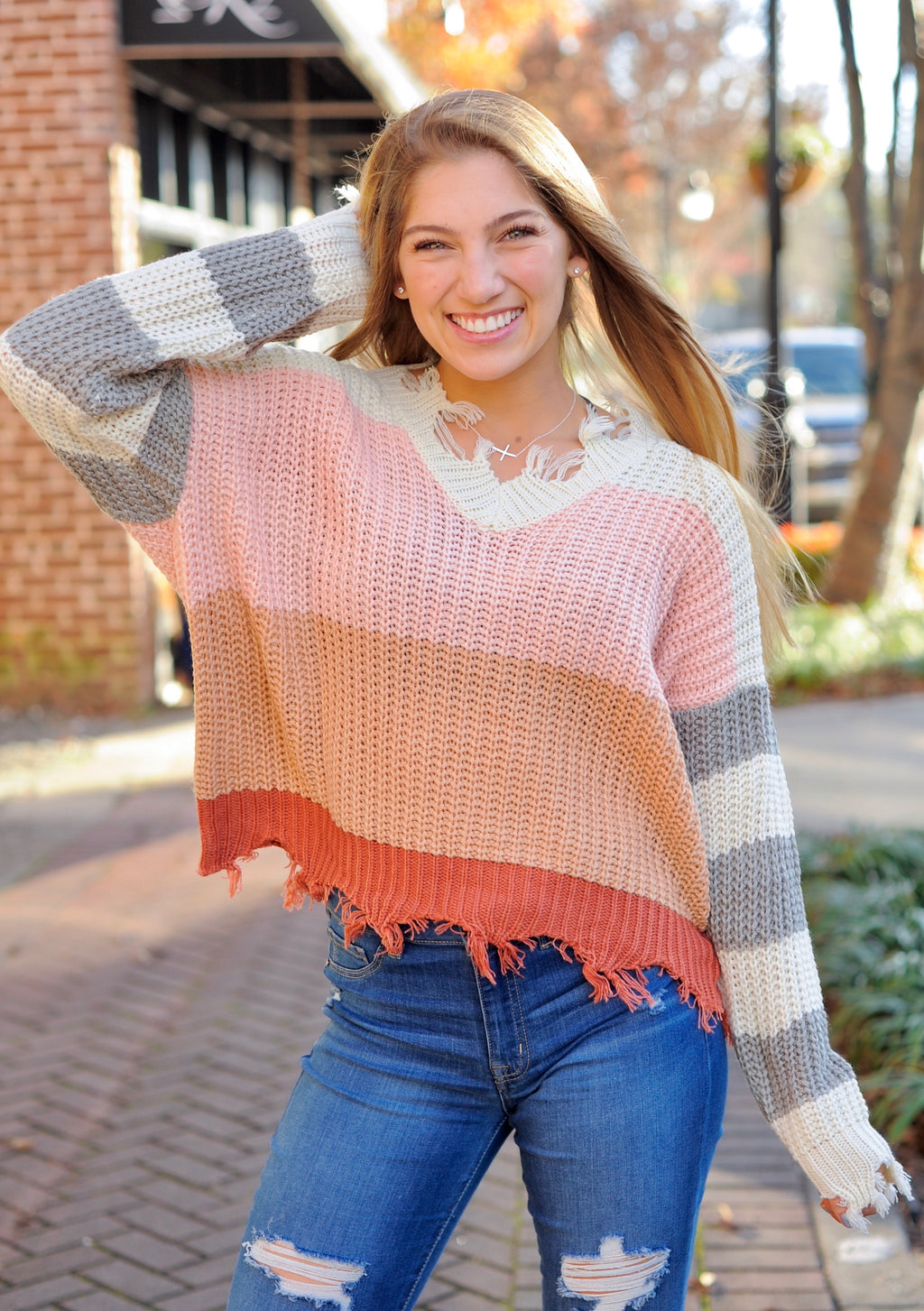 Striped Color Block Sweater - Blush/Rust