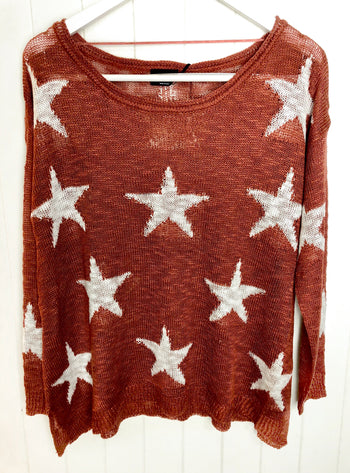 Star Print Knit Sweater - Rust