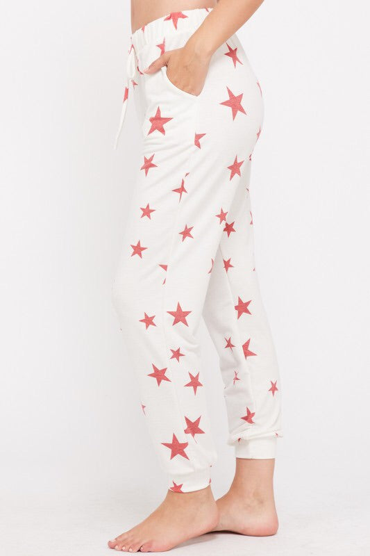 Star Print Jogger Pants - Red