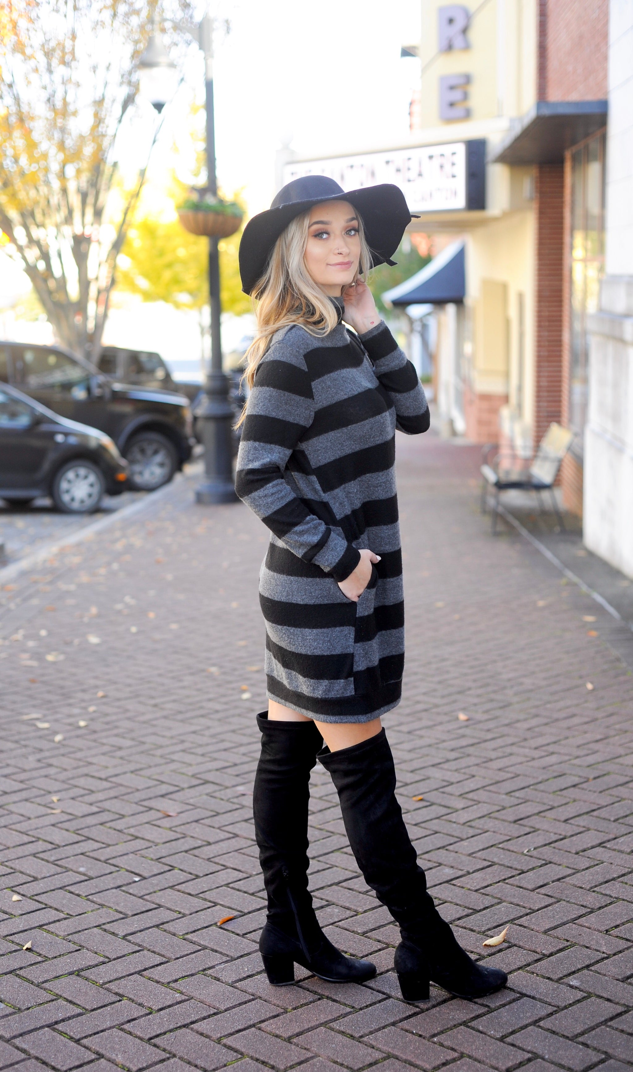 Charcoal Brush Knit Striped Sweater Dress