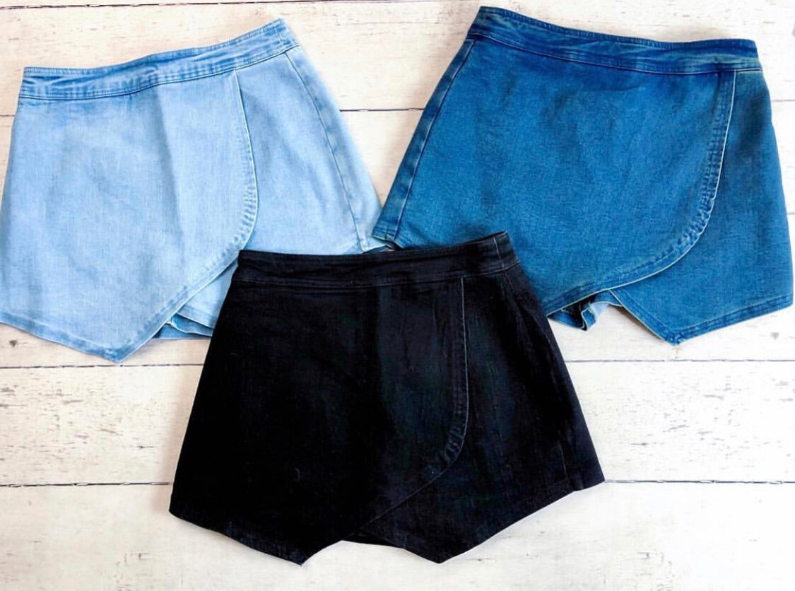 Light Denim Envelope Skort