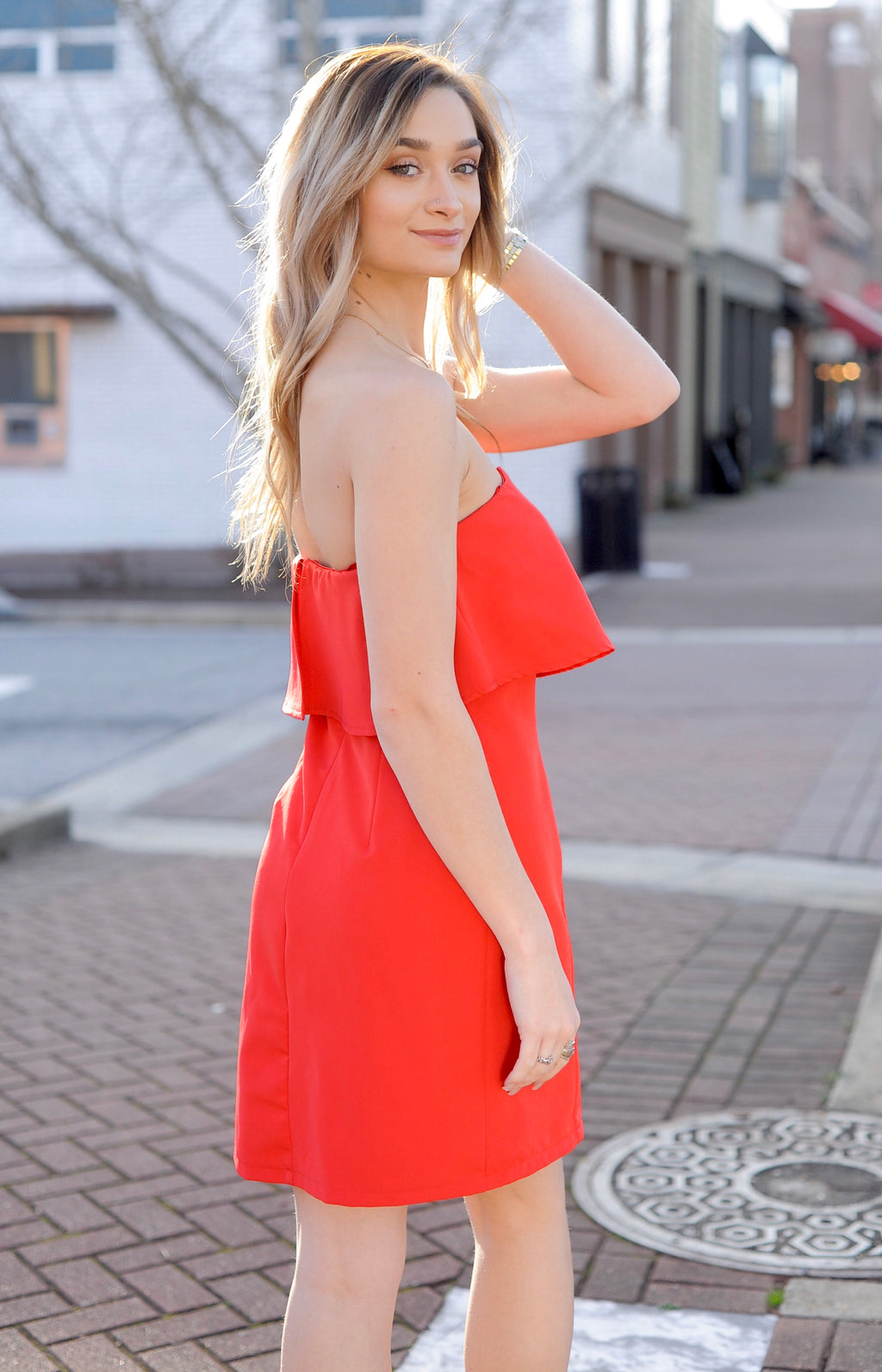 Red Strapless Ruffle Dress