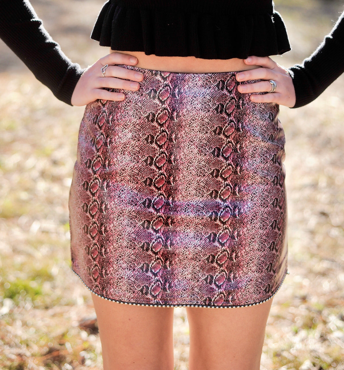 Beaded Hem Snakeskin Skirt - Magenta
