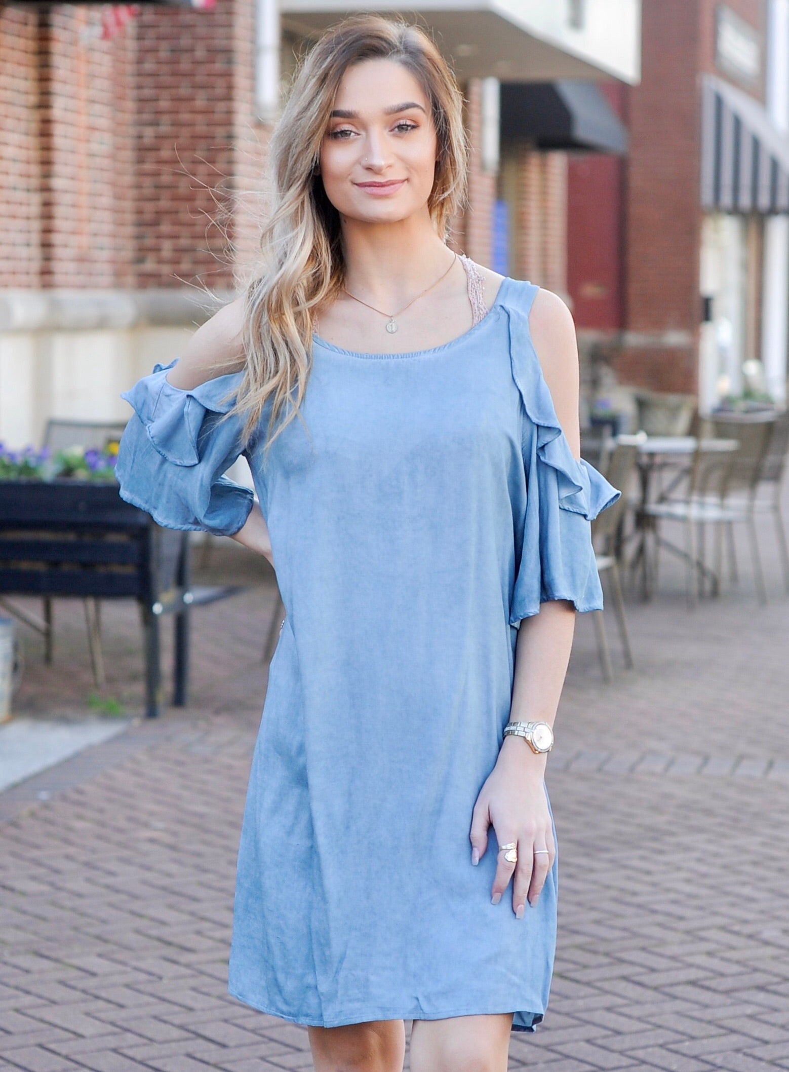 Denim Ruffle Cold Shoulder Dress