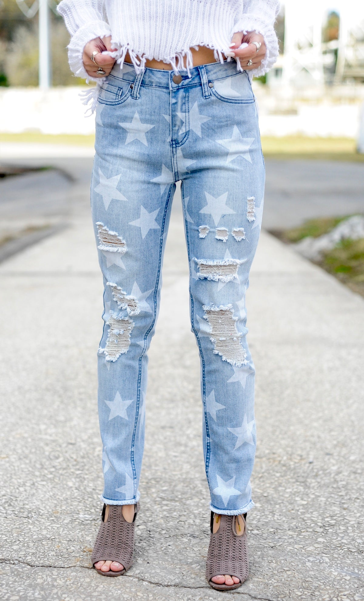 Star Print Distressed Jeans - Blue Denim