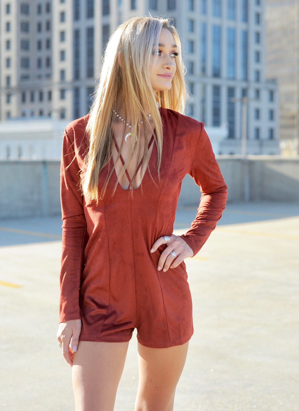 Suede Front Cross Romper- Rust