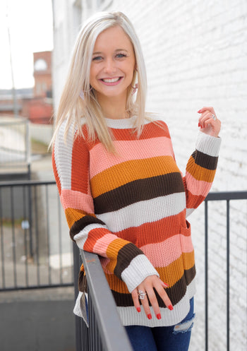 Pocketed Striped Sweater