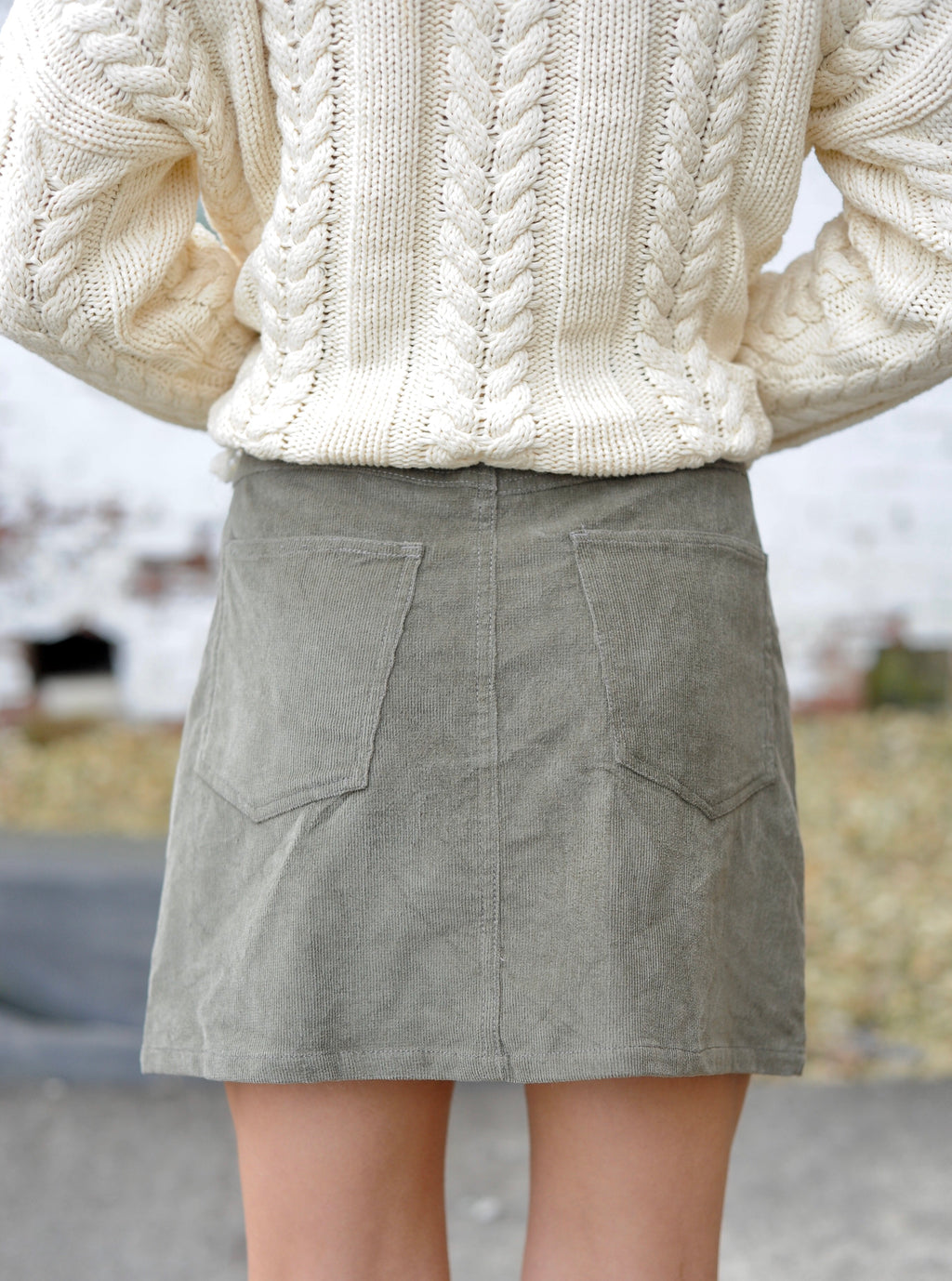 Olive Pocketed Corduroy Skirt