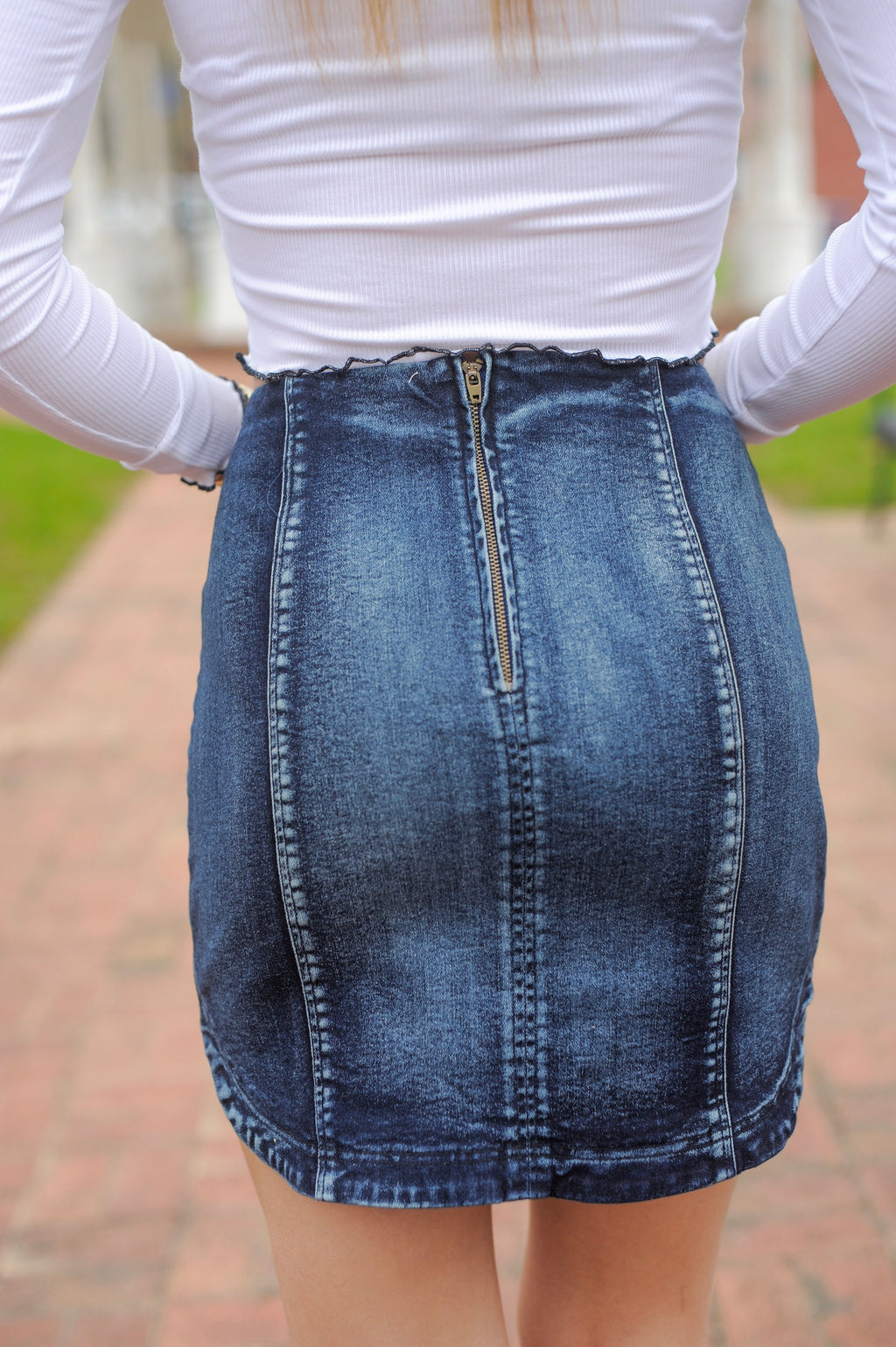 Denim Round Hem Mini Skirt