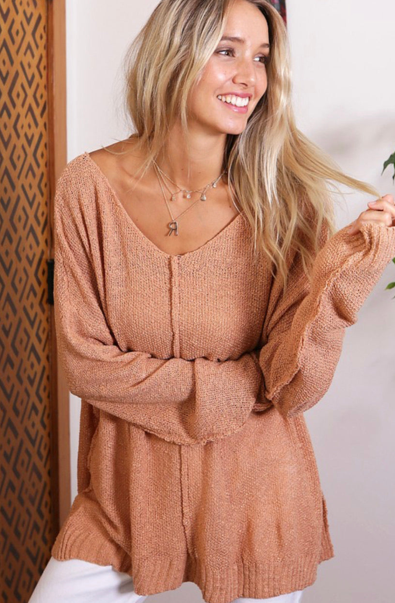Apricot V Neck Sweater Tunic