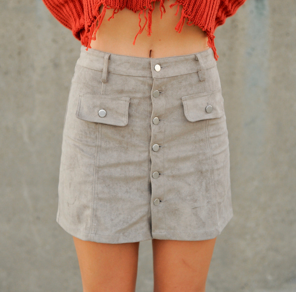 Mocha Suede Button Up Skirt