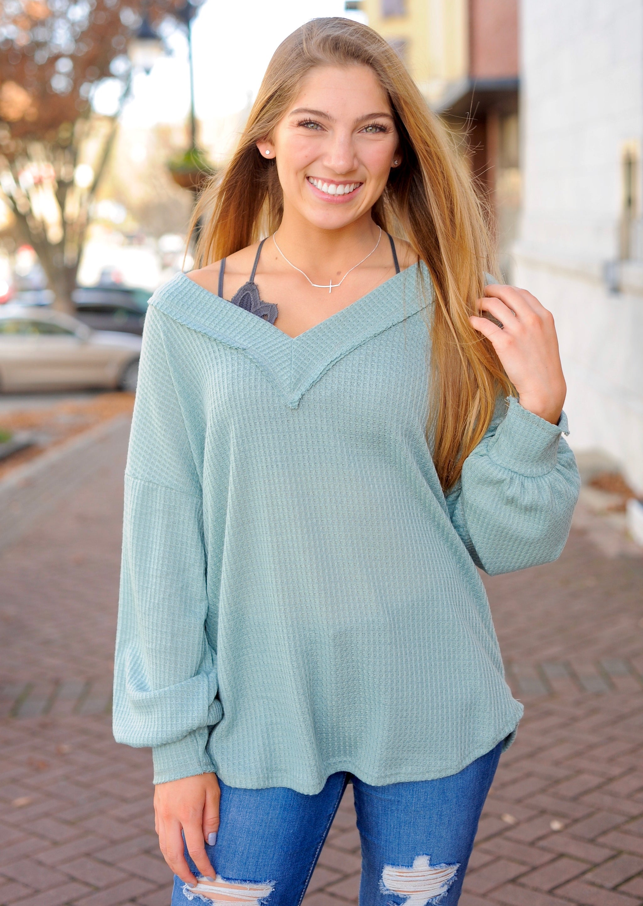 Dust Sage Waffle Thermal Top