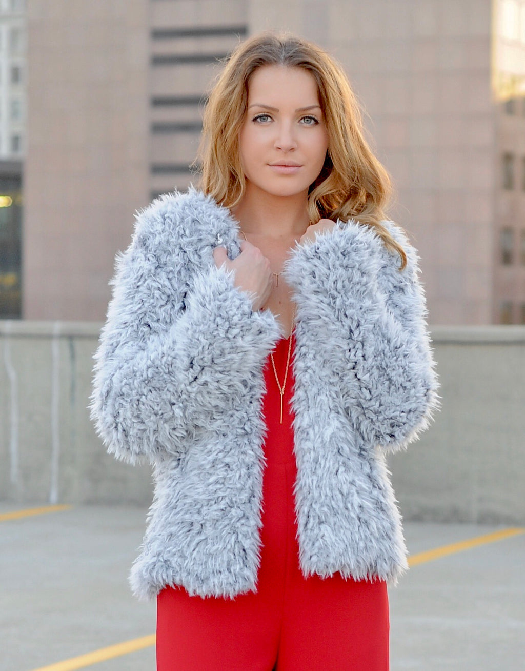Heather Grey Furry Jacket