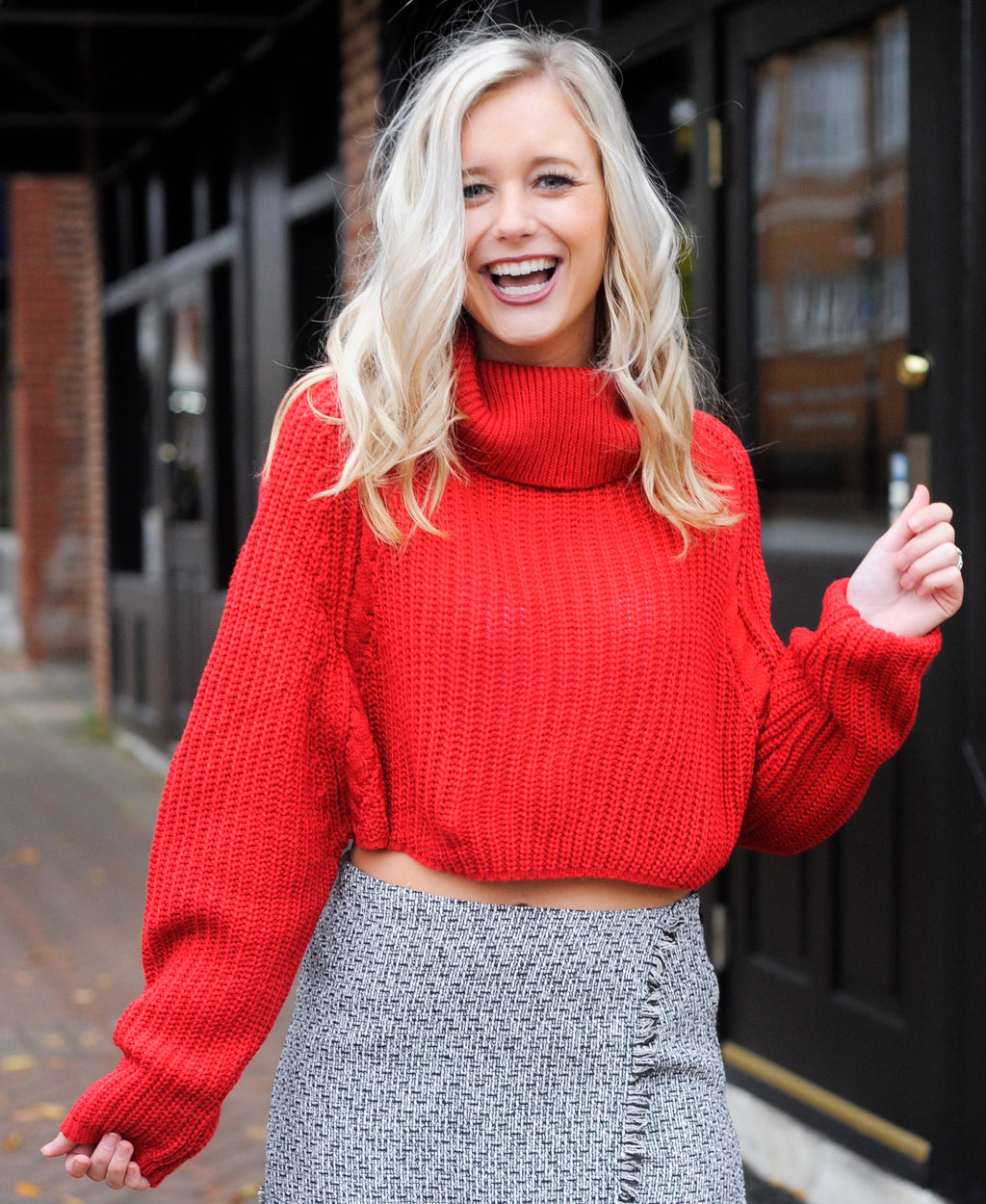 Red Cropped Turtle neck Sweater with cute Skort