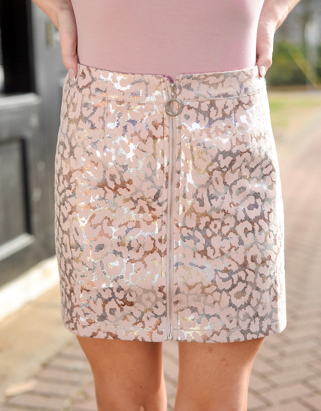 Pink Metallic Leopard Skirt