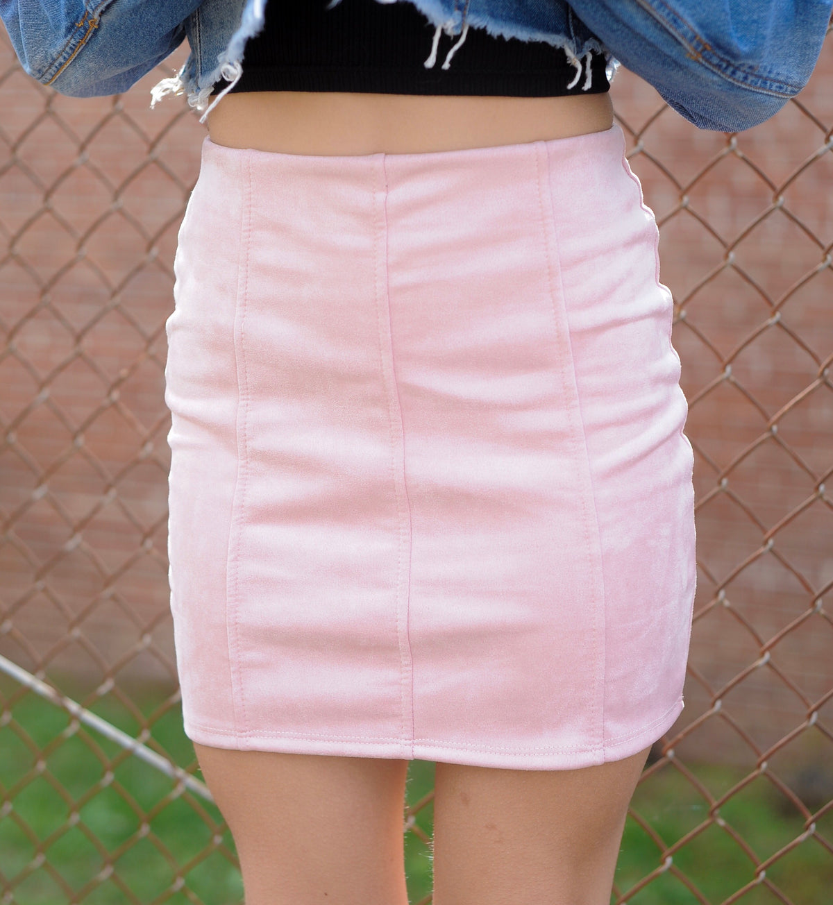 Mauve Sueded Mini Skirt