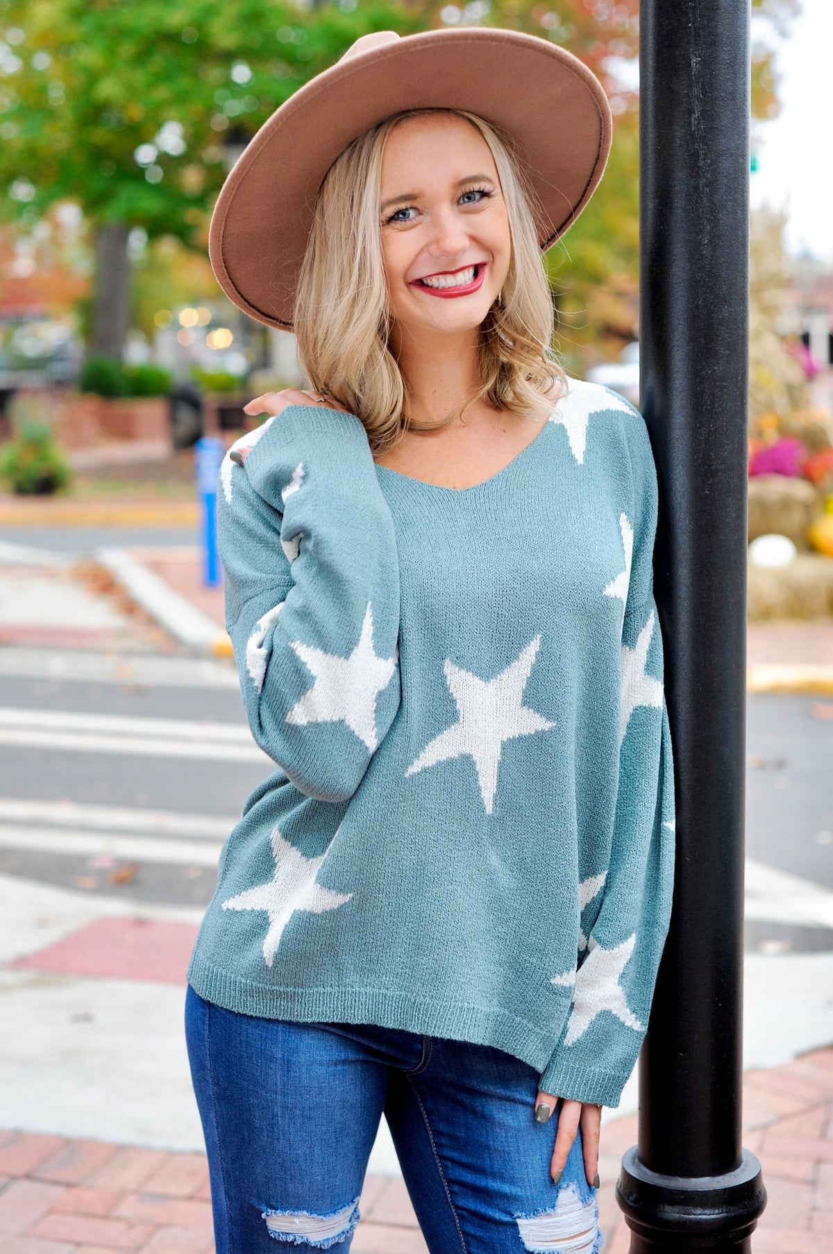V Neck Star Sweater - Sage