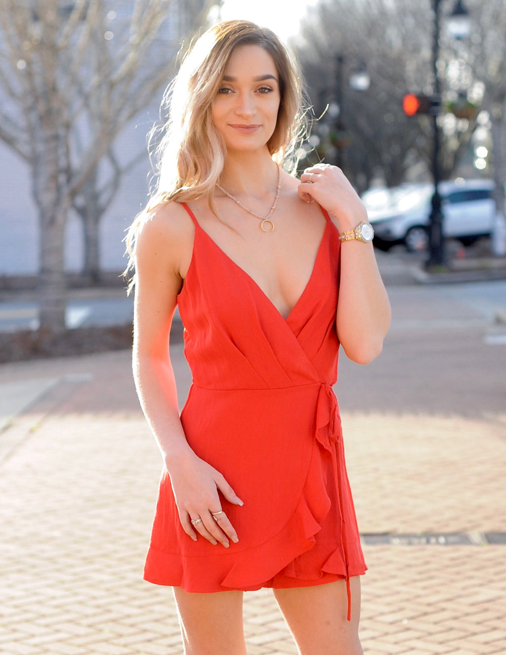 Red Ruffle Wrap Romper