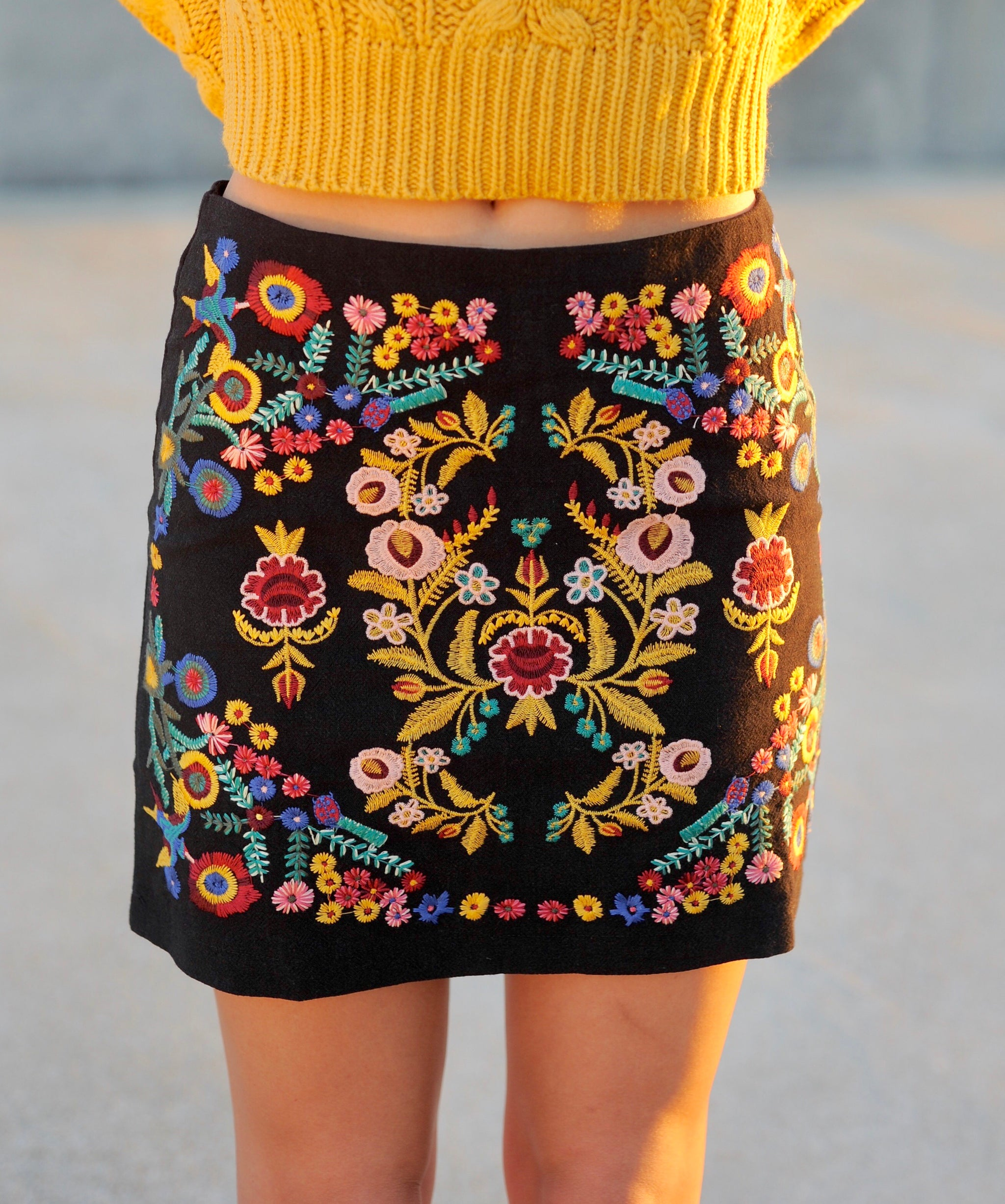 Floral Embroidered Skirt- Black
