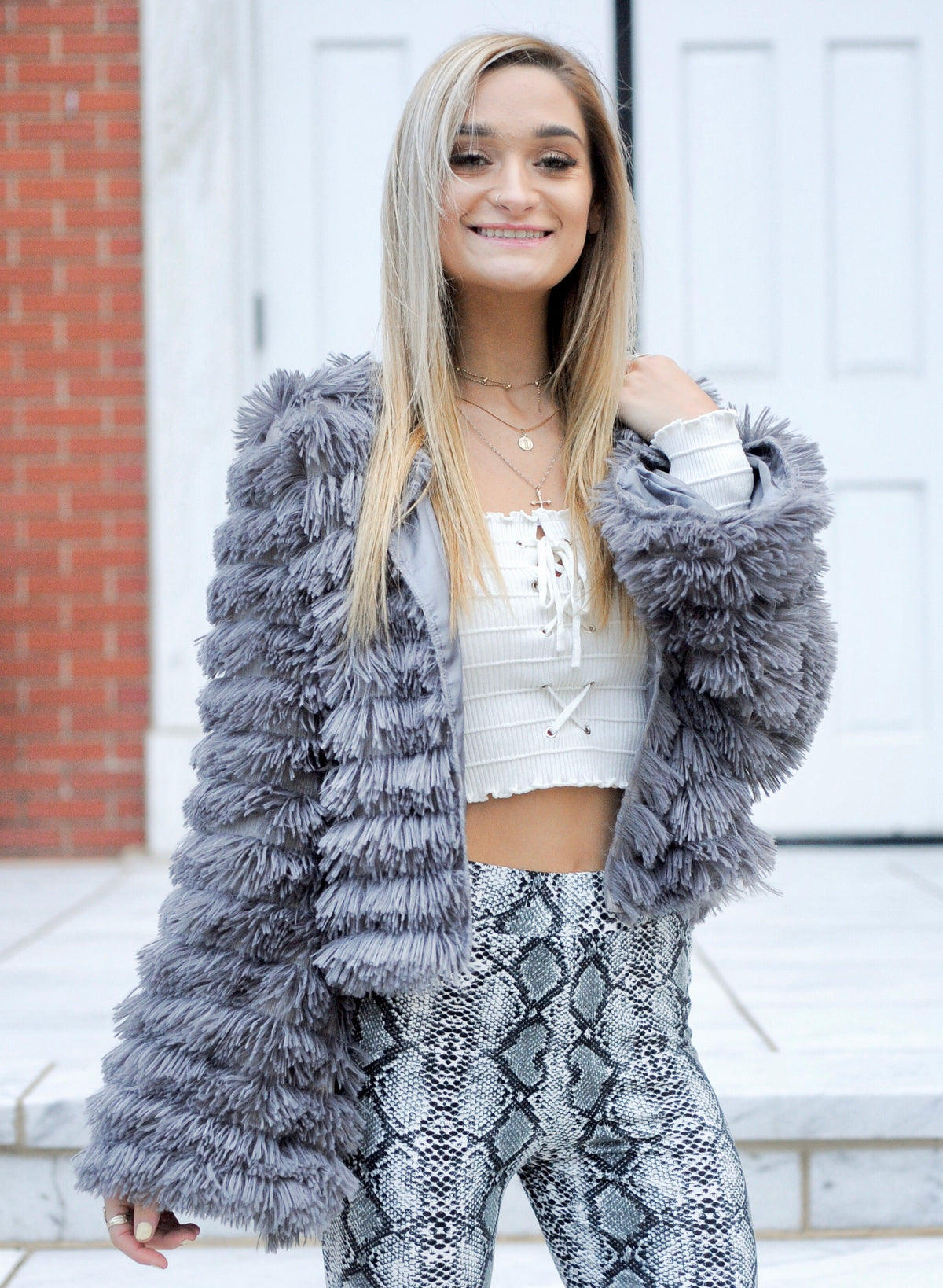 Grey Shaggy Bell Sleeve Jacket