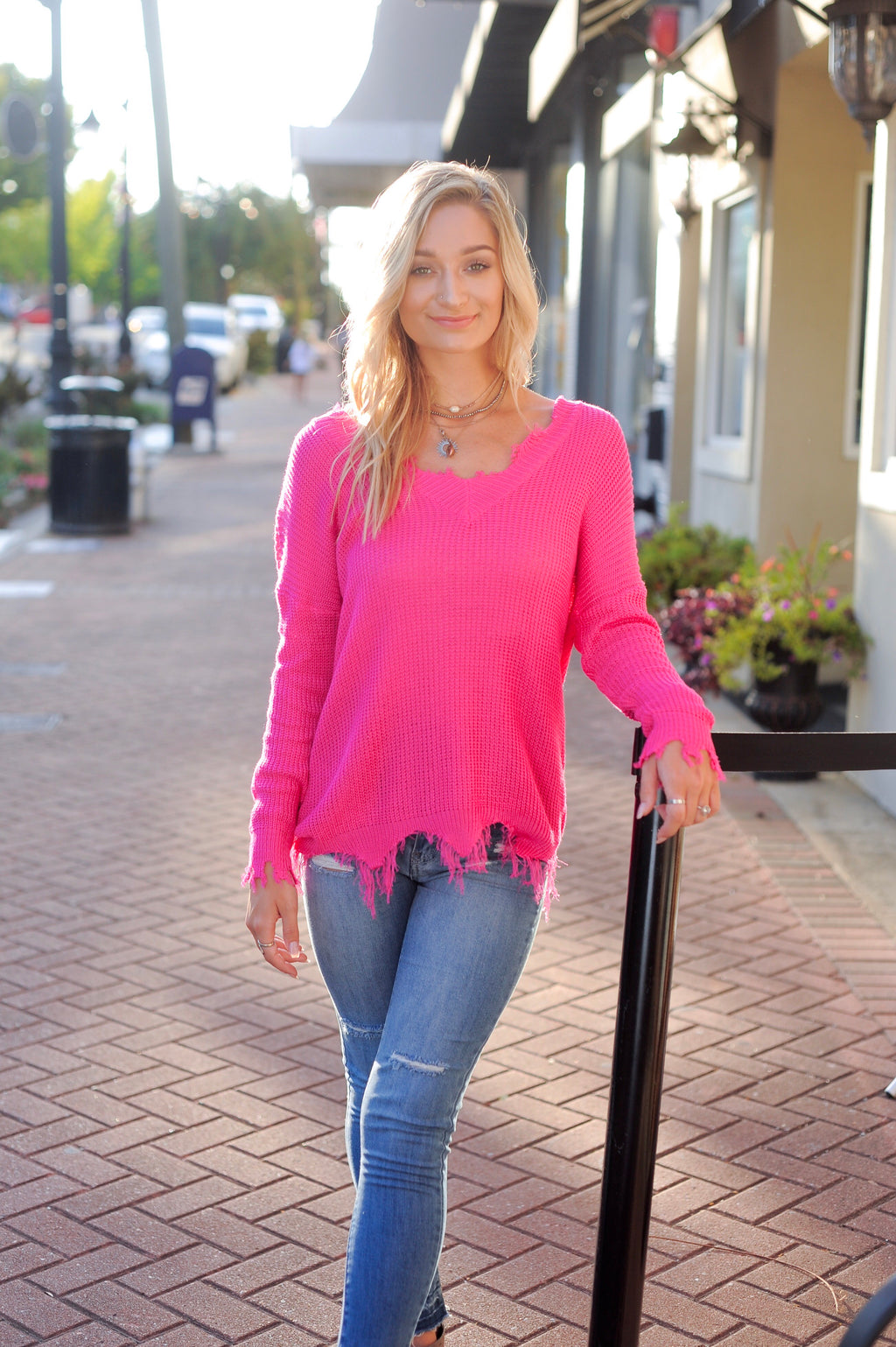 Light Weight Distressed Sweater - Hot pink