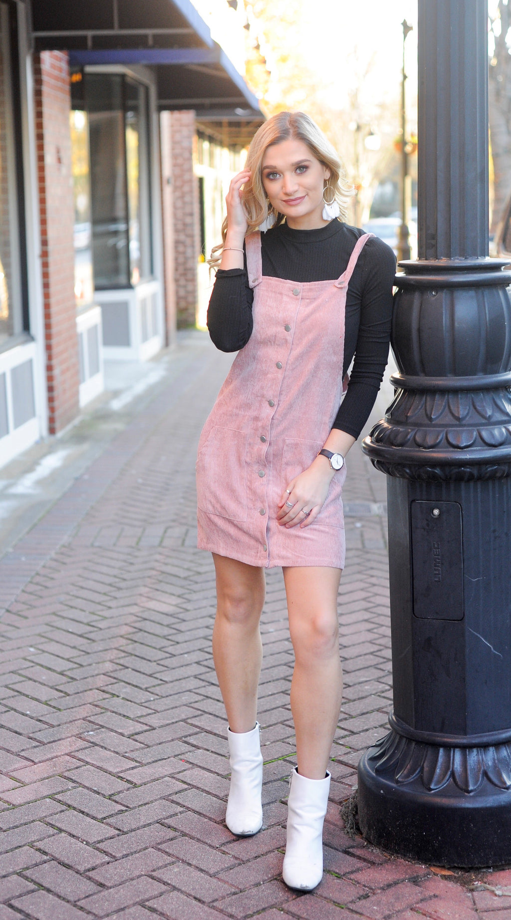 Mauve Corduroy Overall Dress