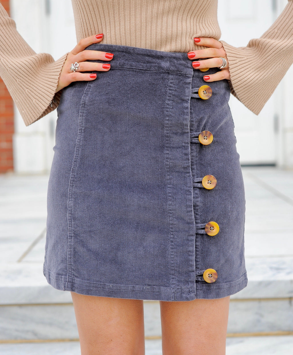 Charcoal Button Down Corduroy Skirt