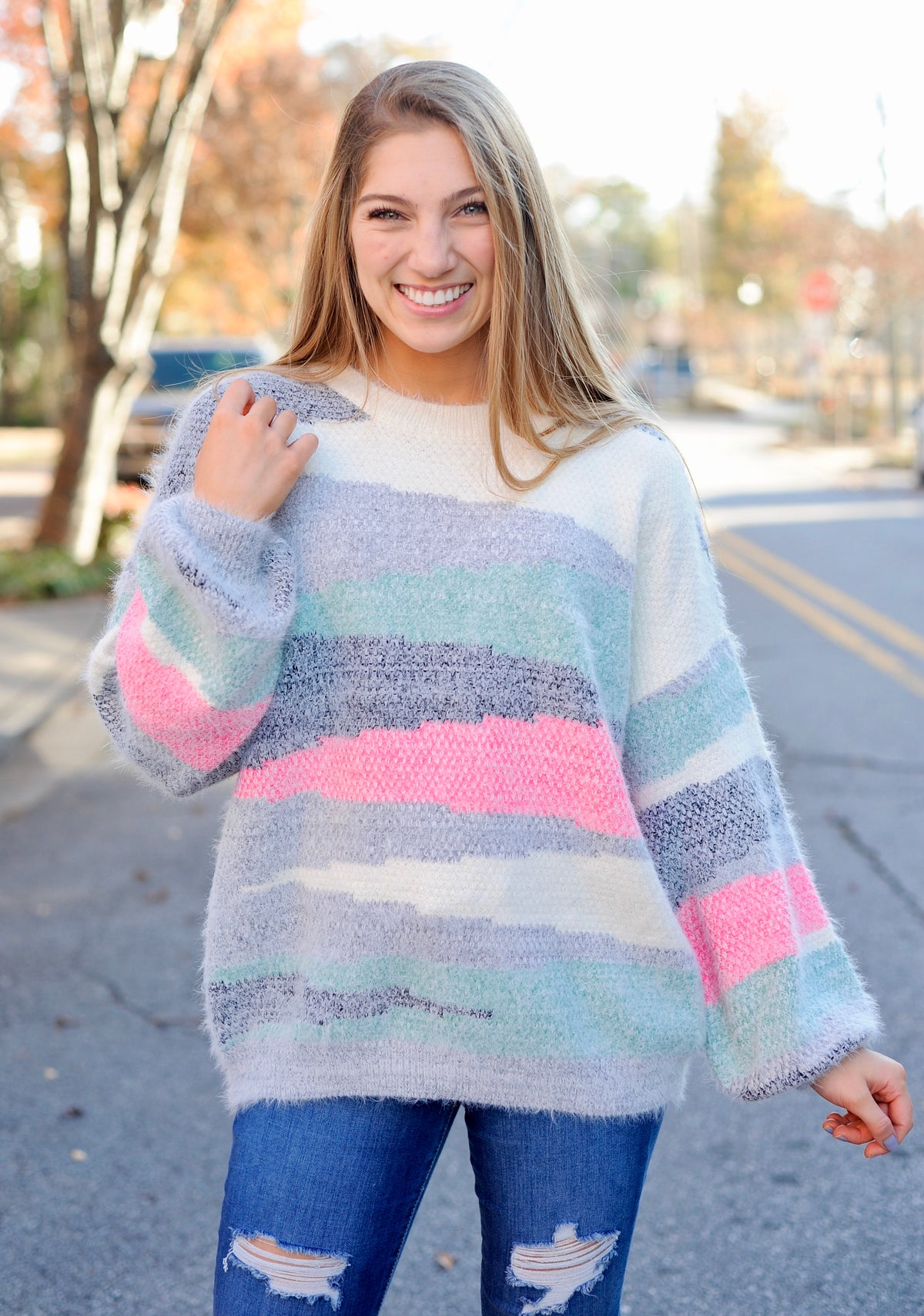Pink/Green Mohair Sweater