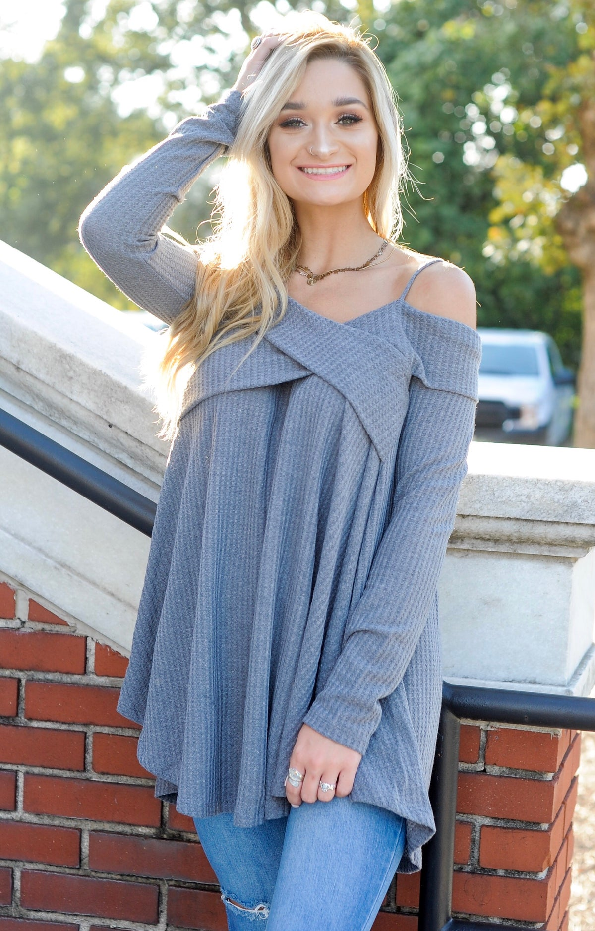 Spaghetti OTS Criss Cross Top- Grey