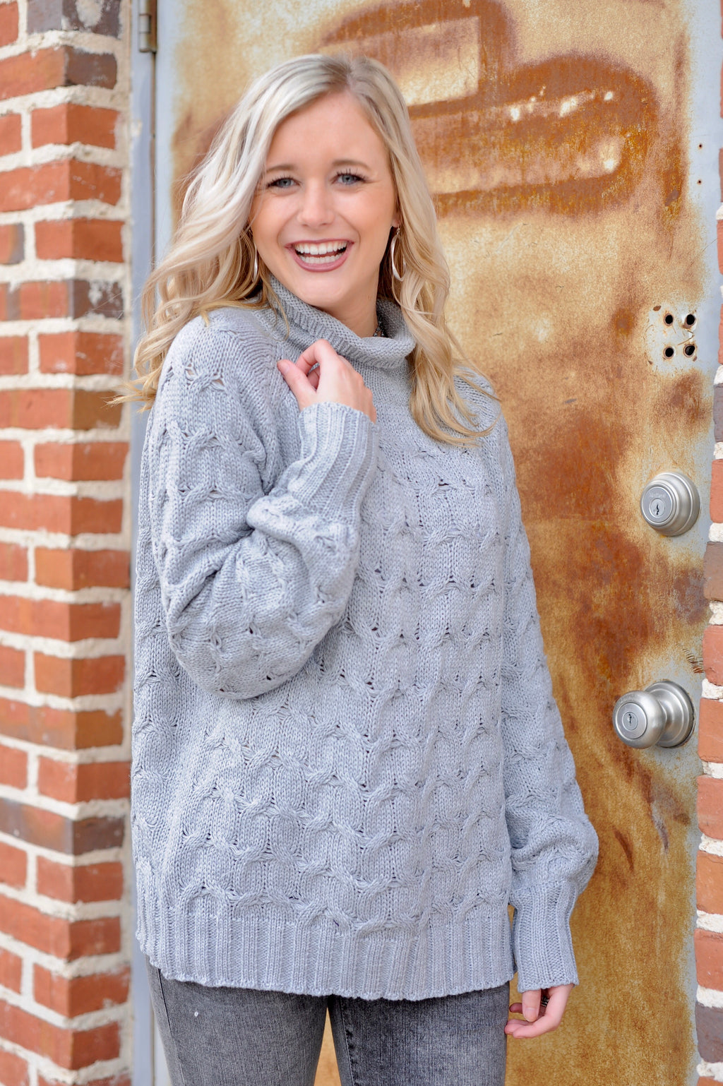 Grey Texturized Mock Neck Sweater