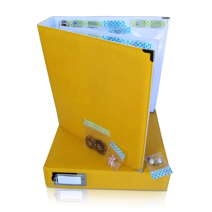 Binder - Storage Solution for Craft Supplies and Jewelry.  Marigold Yellow