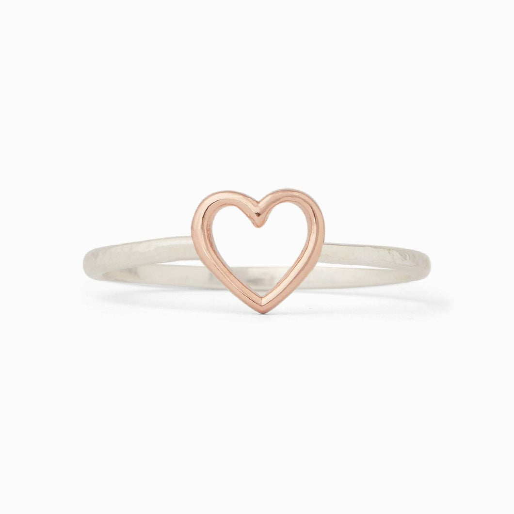 PURA VIDA OPEN HEART RING ROSE AND SILVER
