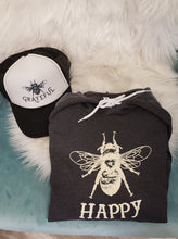 "BEE HAPPY ""HAPPY"" PULLOVER HOODIE CHARCOAL GREY WITH CREME BEE"