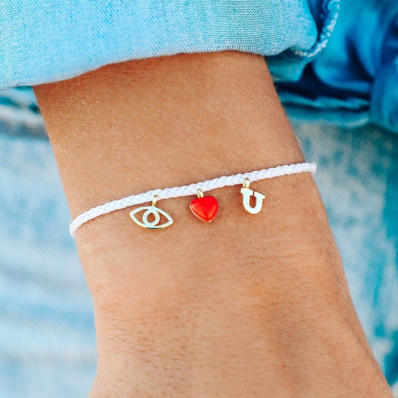 PURA VIDA EYE LOVE YOU GOLD CHARM BRACELET