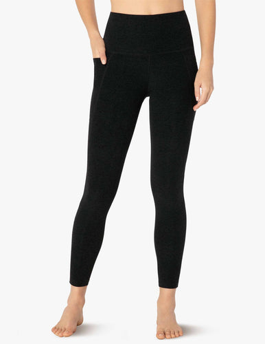 BEYOND YOGA SPACEDYE OUT OF POCKET HIGH WAISTED MIDI LEGGING- DARKEST NIGHT