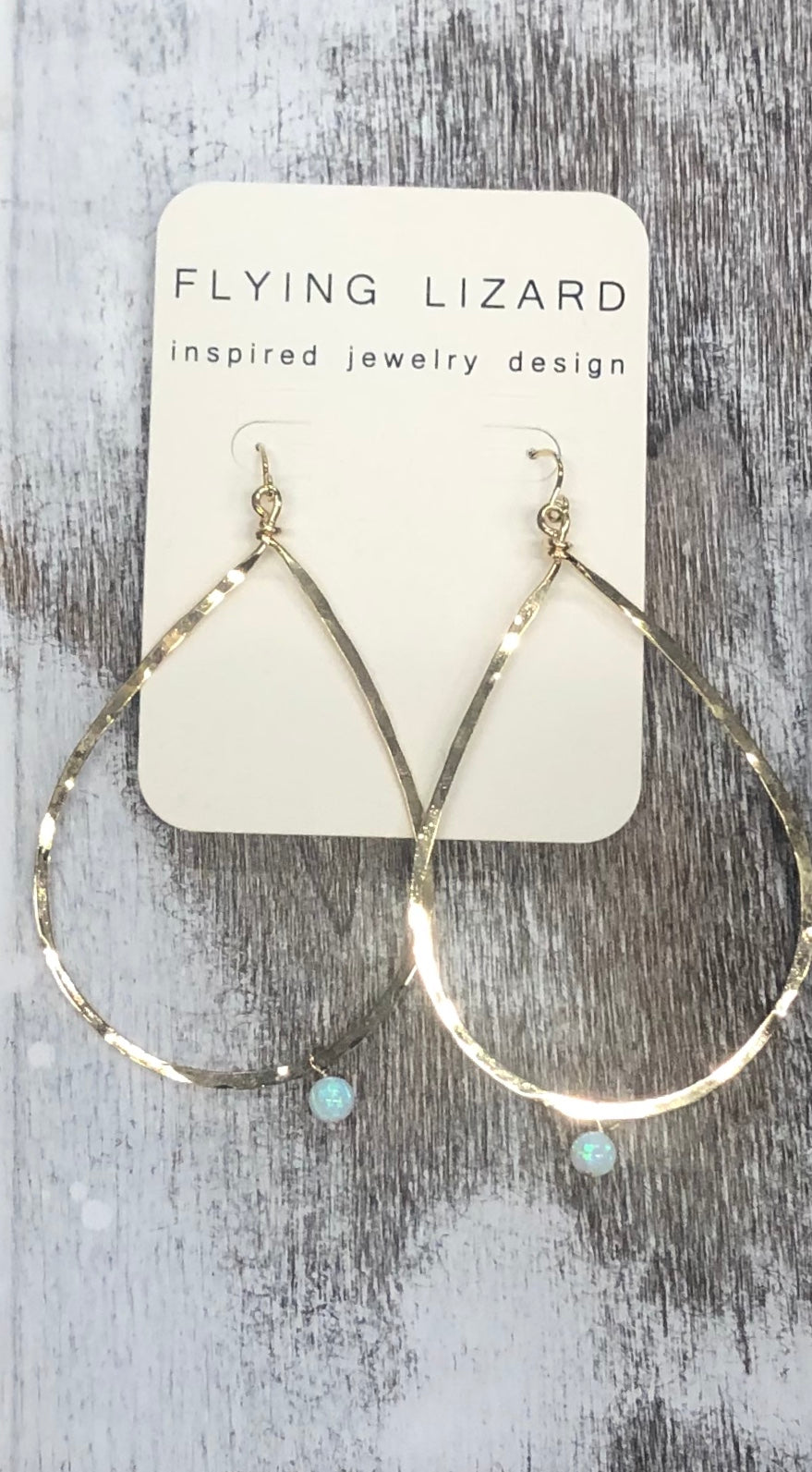 FLYING LIZARD DESIGN OPAL RAINDROP HOOPS