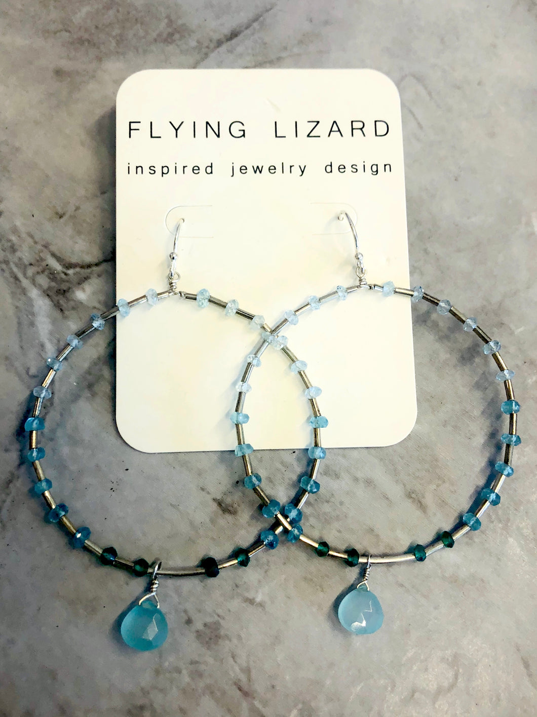 FLYING LIZARD DESIGN CHALCEDONY HOOPS