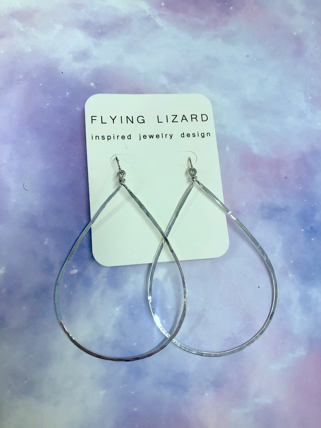 FLYING LIZARD DESIGN SILVER TEAR DROP HOOP