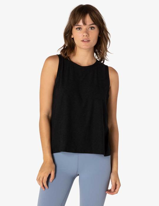 BEYOND YOGA FEATHERWEIGHT BALANCED MUSCLE TANK - DARKEST NIGHT