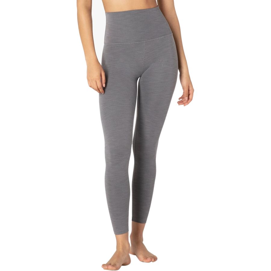 BEYOND YOGA HEATHER RIB HIGH WAISTED MIDI LEGGING- GRAY HEATHER