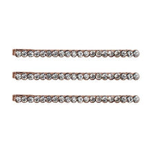 KITSCH ROSE GOLD RHINESTONE METAL BOBBY PINS-PACK OF 3
