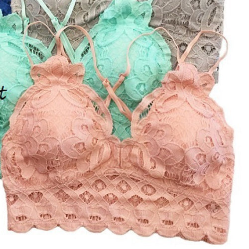 ANEMONE ELISE LACE BRALETTE ROSE