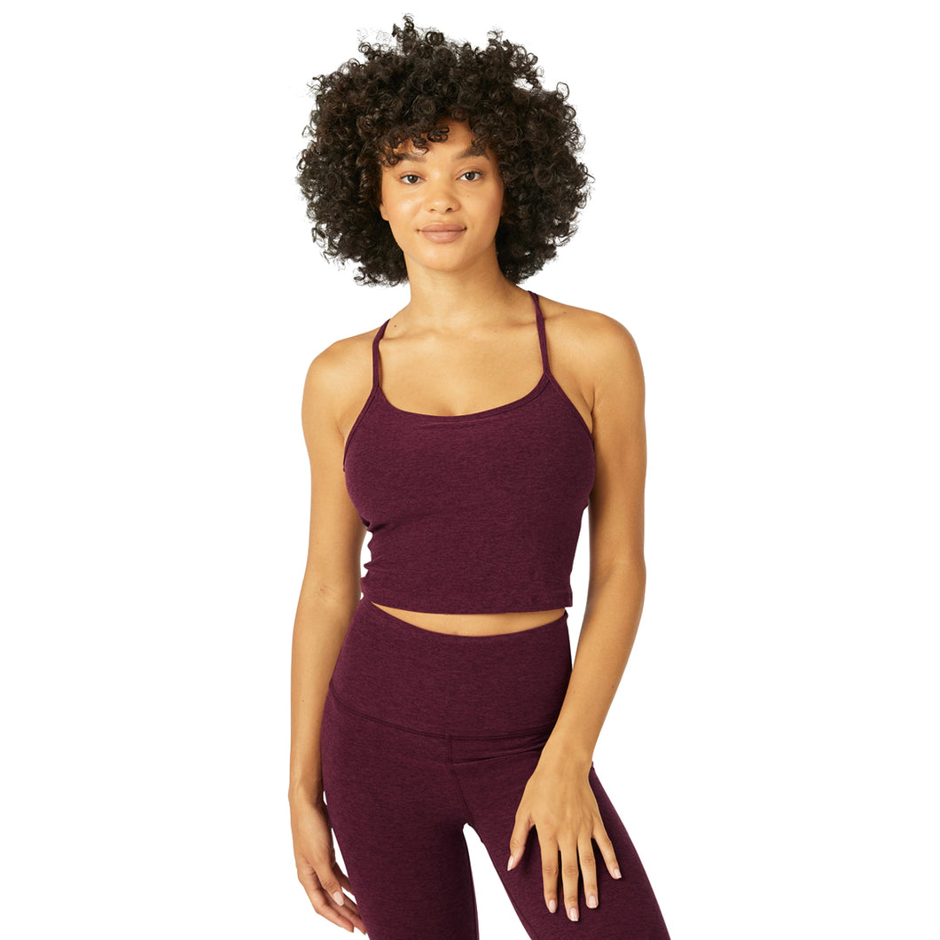 BEYOND YOGA SPACE DYE SLIM RACERBACK CROPPED TANK DEEP MERLOT