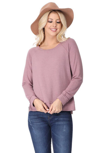 T PARTY ROUND NECK LONG SLEEVE COZY TOP
