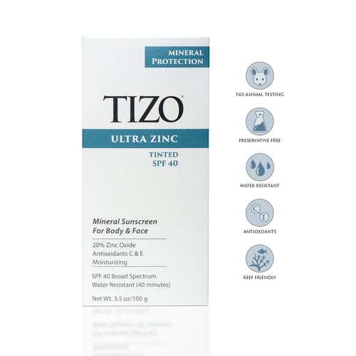 TIZO ULTRA ZINC MINERAL SUNSCREEN FOR FACE & BODY TINTED SPF40